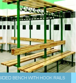 Double sided bench with hook rails