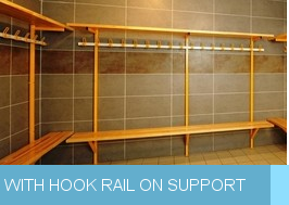 Wall bench with hook rail on support